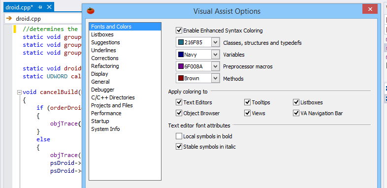 Configure your favorite features in Visual Assist to suit your programming environment and habits.