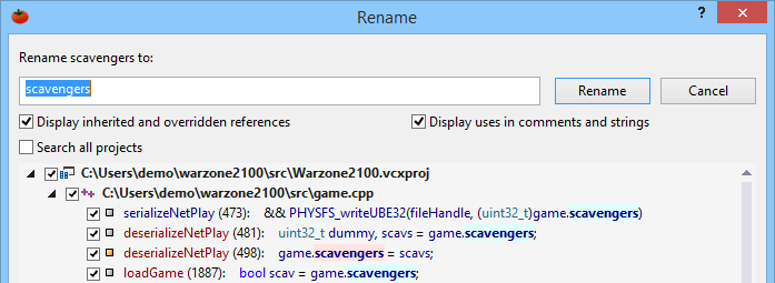 Select Rename from any of the refactoring menus